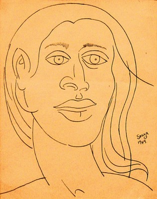 Untitled (Female portrait in blue ink) - 1949