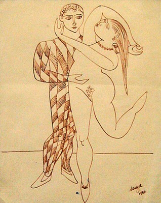 Untitled (Harlequin & nude in brown ink) - 1950