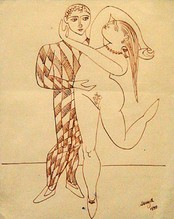 Untitled (Harlequin & nude in brown ink)