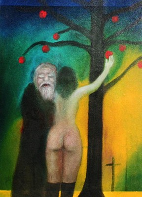 Old man and rear view of nude girl under apple tree  - 1982