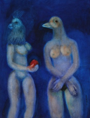 Two bird-headed women on blue ground - 1999