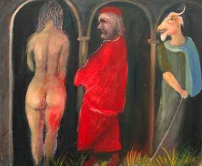 Rear view of female nude, man in red & goat-headed man - 1982