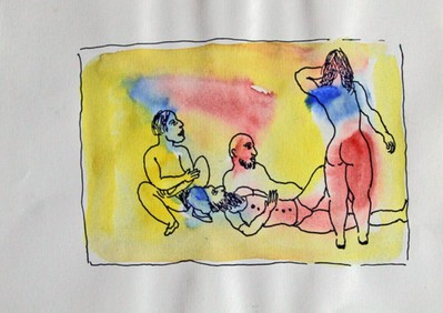 Untitled (Men lying down looking at woman's back)