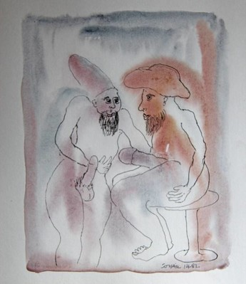 Untitled (two men in conversation with huge erections) - 1982