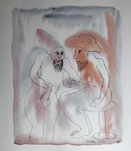 Untitled (two men in conversation with huge erections)