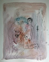 Untitled (two men, a nude woman and a boy)