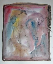 Untitled (two nude men and nude woman in hat)